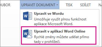 Obrázek příkazu Upravit ve Wordu Online