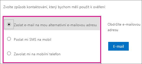 Snímek obrazovky s možnými způsoby kontaktování pro účely ověření: e-mail, textová zpráva nebo volání na mobilní telefon