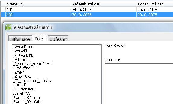 Zobrazení názvů polí v dialogovém okně Vlastnosti záznamu
