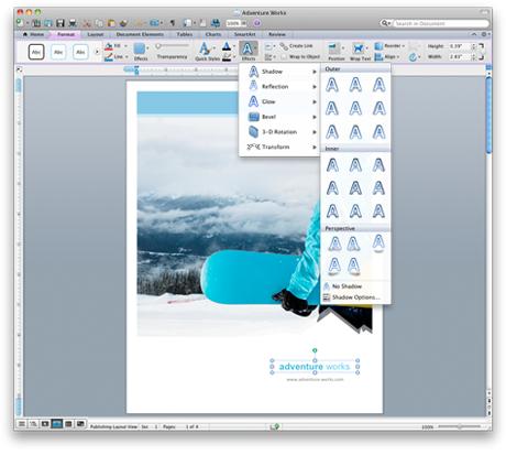 Rozhraní Wordu s novým pásem karet sady Office pro Mac