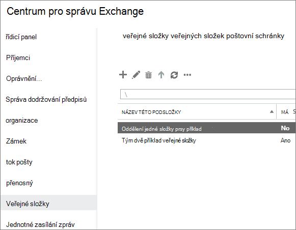Zobrazení veřejných složek při řešení kódu oznámení o doručení 5.7.135