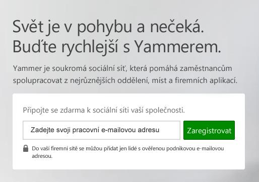 Přihlašovací obrazovka Yammeru