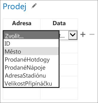 Výběr dat pro aplikaci pro Office, která se mají zobrazit v aplikaci pro Access