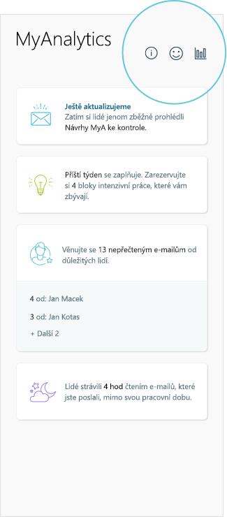 Snímek obrazovky s výsledky MyAnalytics