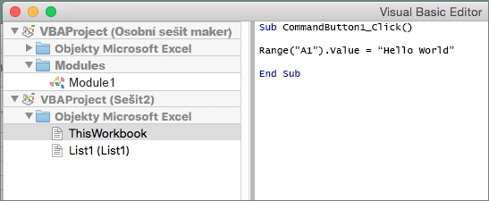 Excel for Mac VB Editor