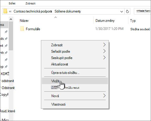 Klikněte pravým tlačítkem myši a vyberte Vložit