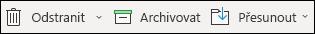Nabídka položky odstranit a archiv