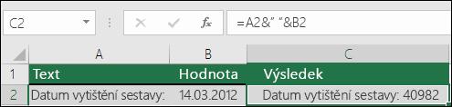 Příklad spojení textu bez funkce HODNOTA.NA.TEXT