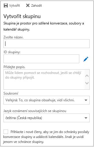 Vytvoření skupiny v kalendáři pro Outlook na webu pro firmy