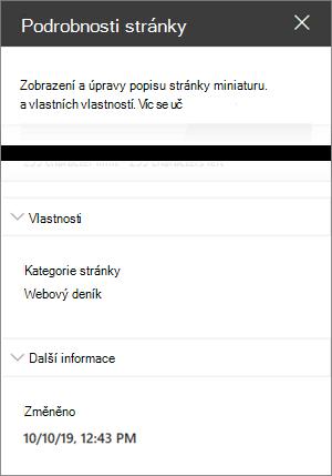 Podokno podrobností stránky s kategorií stránky blogu