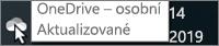 Snímek obrazovky znázorňující ukazatel myši na bílé ikoně OneDrivu s textem OneDrive – osobní