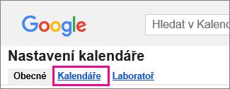 kalendář google – klikněte na Kalendáře