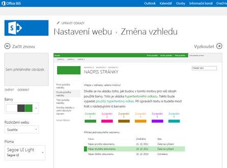 Ukázka obrazovky sloužící ke změně písma, barvy a rozložení webu
