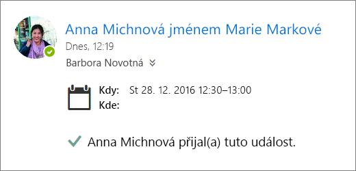 Snímek obrazovky s pozvánkou na schůzku přijatou delegátem
