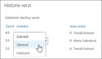 Výběr možnosti Obnovit z rozevírací nabídky u vybrané verze dokumentu