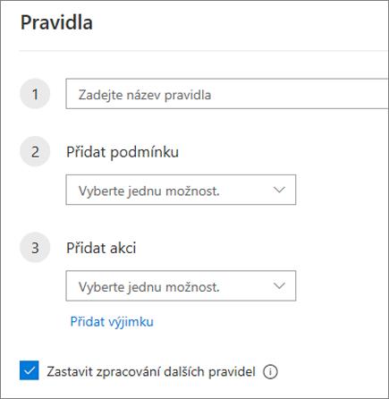 Vytvoření nového pravidla v Outlooku na webu