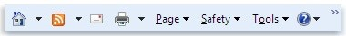 Panel příkazů aplikace Internet Explorer 9