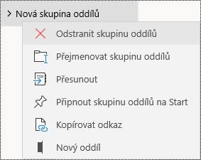 Odstranění skupin oddílů ve OneNotu pro Windows 10