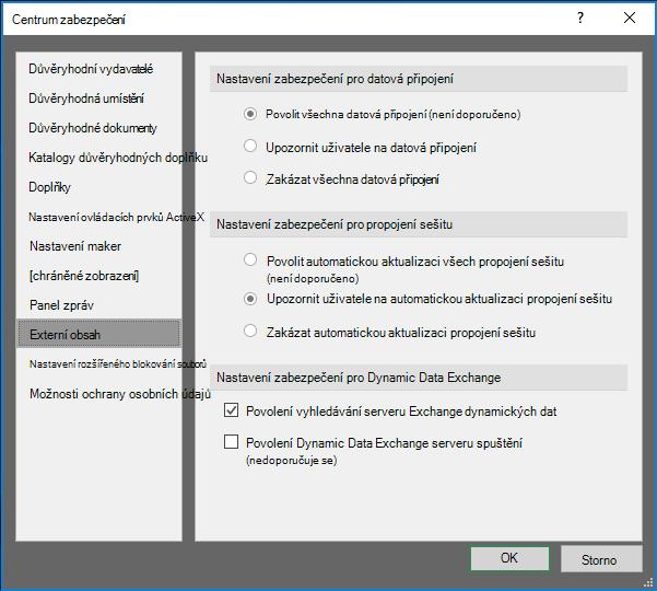 Nastavení externího obsahu v Centru zabezpečení aplikace Excel