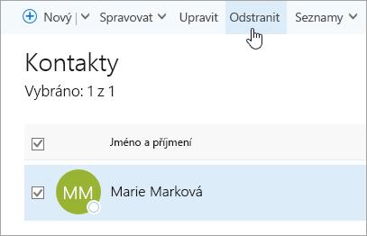 Snímek obrazovky s tlačítkem Odstranit na stránce Lidé
