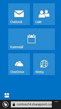 Přechod na weby, do knihoven nebo do e-mailu pomocí navigačních dlaždic Office365