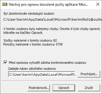 Ukazuje výsledky kontroly datového souboru .pst aplikace Outlook pomocí Nástroje Microsoftu pro opravu doručené pošty (SCANPST.EXE).