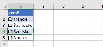 Buňka propojeného záznamu vybraná v tabulce