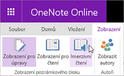 Výběrem na kartu zobrazení otevřete výukové nástroje v aplikaci OneNote Online