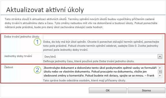 Formulář pro změny aktivních úkolů