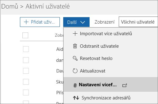 Nabídka Další na stránce Aktivní uživatelé s vybranou možností Nastavení vícefaktorového ověřování Azure