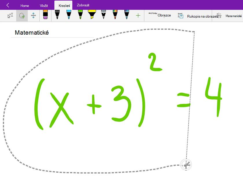 Výběr ručně psané matematické rovnice pomocí nástroje Laso