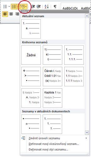 Styly víceúrovňových seznamů v aplikaci Word 2010