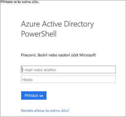 Zadejte svoje přihlašovací údaje správce služby Azure Active Directory.