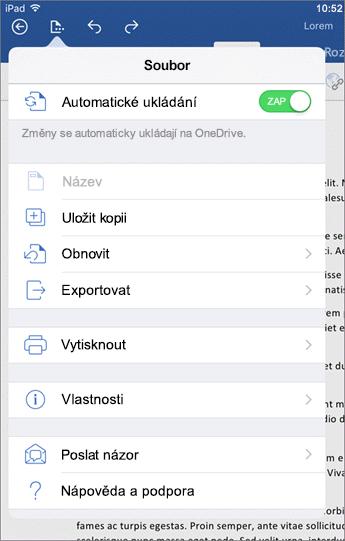 Tlačítko Soubor umožňuje ve Wordu pro iOS tisknout, ukládat, posílat své názory a další věci.