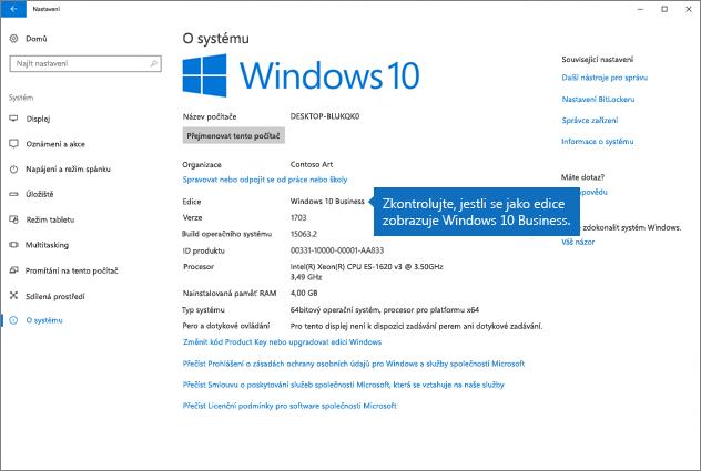 Zkontrolujte edici, jestli je Windows 10 Business.