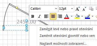 Zobrazení dalších příkazů kliknutím pravým tlačítkem myši na obrazec