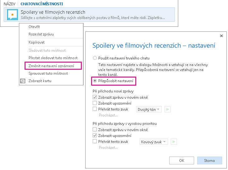 Snímek obrazovky výběru nabídky a okna pro přizpůsobení oznámení