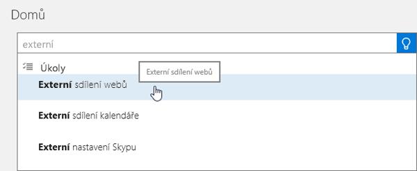 """Snímek obrazovky k zadávání textu """"externí sdílení"""" do vyhledávacího pole na domovské stránce Centra pro správu"""