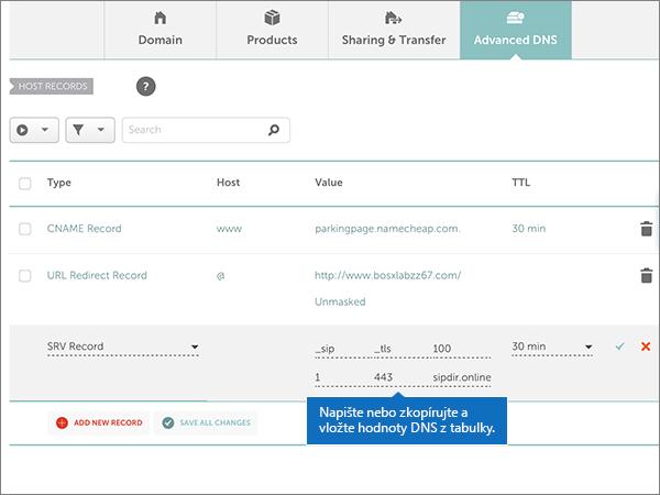 Namecheap – doporučených postupů – konfigurace 5-2