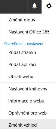 Snímek obrazovky s možností nabídky SharePointu Změnit vzhled