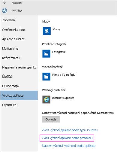 Snímek obrazovky s nastavením Nastavit výchozí možnosti podle aplikace ve Windows 10