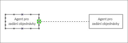 Konec spojovací čáry přetáhnout do jiného obrazce Životnost s zelené zvýraznění kolem spojovací bod