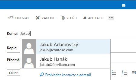 Seznam automatického dokončování Outlook Web Appu