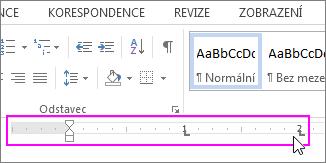 Značky pravítka ve wordovém dokumentu