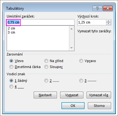 Dialogové okno Zarážka tabulátoru ve Wordu