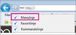 Visning af menulinjen i Internet Explorer