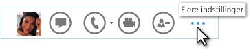Skærmbillede af menuen Quick Lync med Flere indstillinger