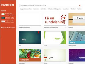 Startskærmbilledet i PowerPoint 2013