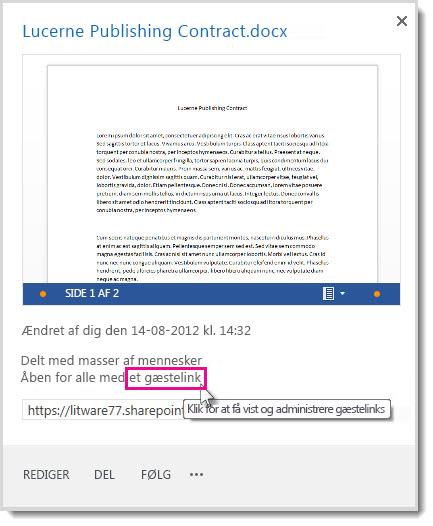 Dialogboksen Egenskaber, som viser, at et dokument er blevet delt med et gæstelink.