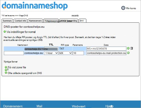 MX-post i Domainnameshop